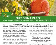 El Boletín Gente Rural dedica su nuevo número a Eufrosina Pérez