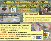 Curso de especialización en la elaboración de quesos | 4 agosto, 4 septiembre, 2 octubre