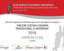 El Restaurante Temático El Jardín de la Sal y el Restaurante Carmen nominados a la VI Edición de los Premios Regionales de Gastronomía Qué Bueno Canarias Heineken