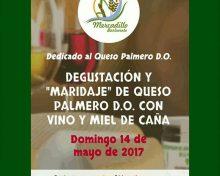 """Degustación y """"maridaje"""" de Queso Palmero D.O. con vino y miel de caña"""