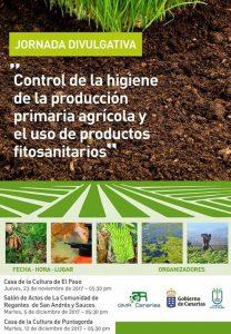 Control de la higiene de la producción primaria agrícola y el uso de productos fitosanitarios @ Casa de La Cultura de Puntagorda | Puntagorda | Canarias | Spain
